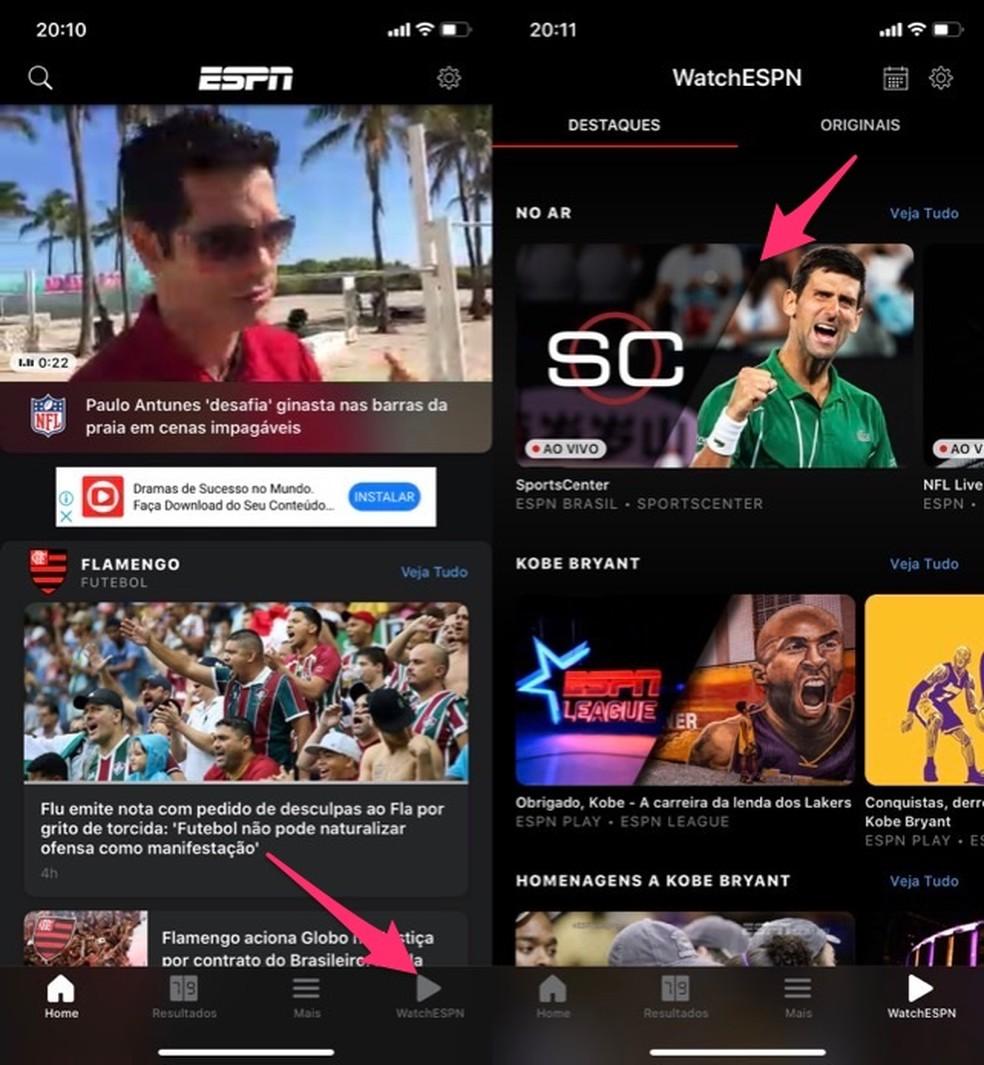 Millal avada ESPN Watch Photo sisselogimisekraani rakendus: Reproduo / Marvin Costa