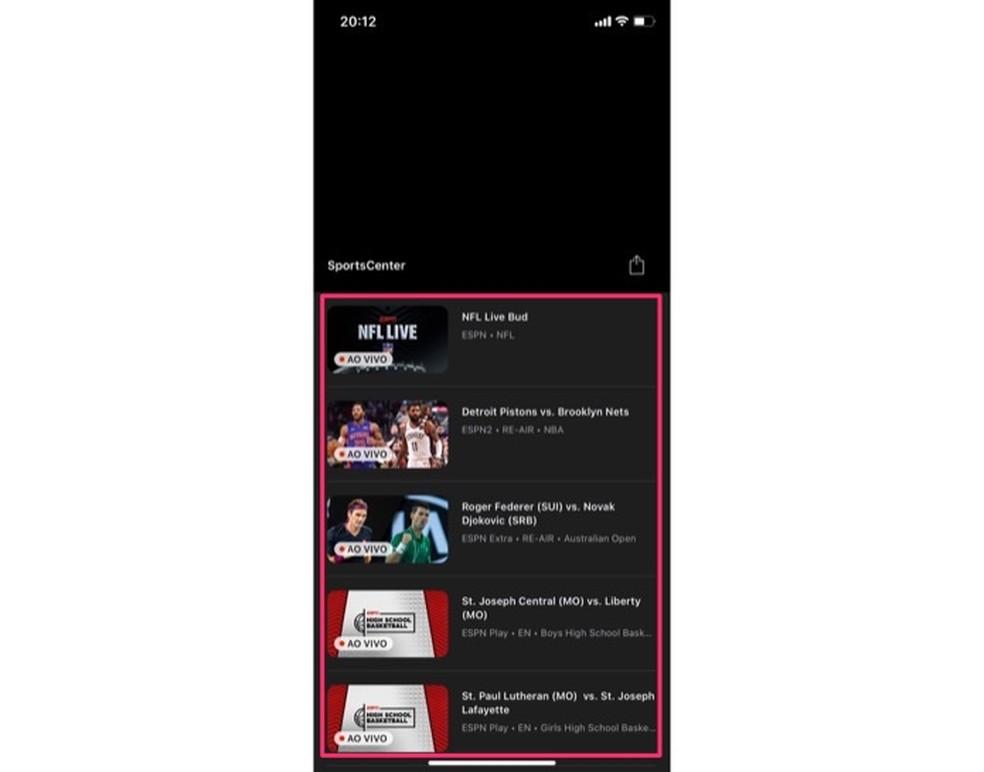 Ekraan näeb välja nagu ESPN-kanali edastamine mobiiltelefonil.Foto: Reproduo / Marvin Costa