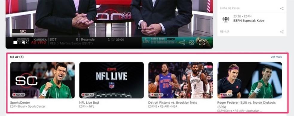 Super Bowli vaatamise tegevus veebiteenuses ESPN Watch Foto: Reproduktsioon / Marvin Costa