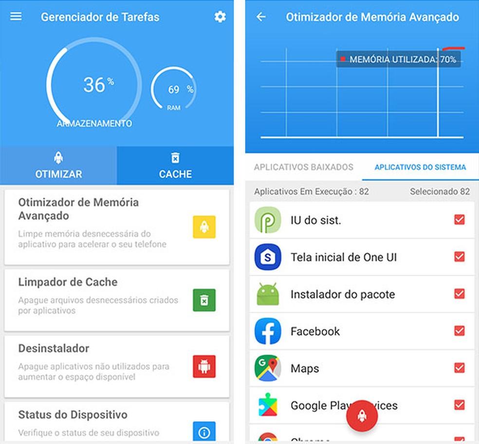 Nutitelefoni jõudluse parandamiseks kasutage Task Manager'i täpsemat mälu optimeerijat. Foto: Reproduo / Fernanda Lutfi