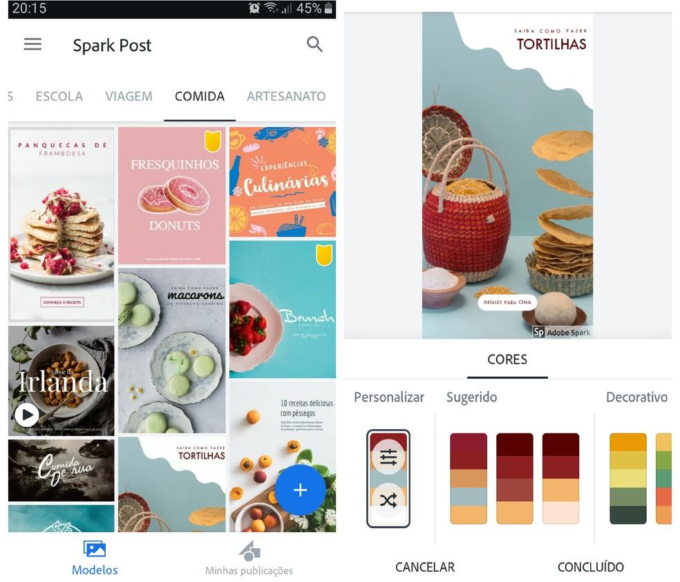 Adobe Spark on Adobe pakutav lihtsam valik graafika loomiseks ilma erialaste teadmisteta. Foto: Reproduo / Graziela Silva