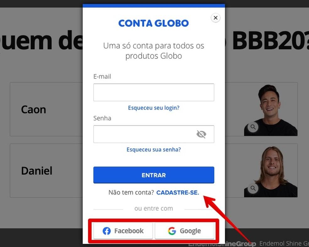 Logi sisse või registreeru aadressil Globo.com Foto: Reproduo / Helito Beggiora