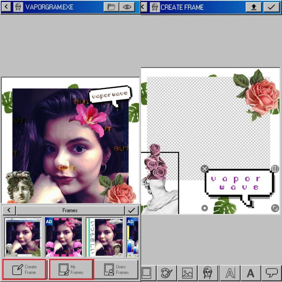 Vaporwave Editor: rakendus võimaldab teil luua spetsiaalseid raame. Foto: Reproduo / Clara Fabro