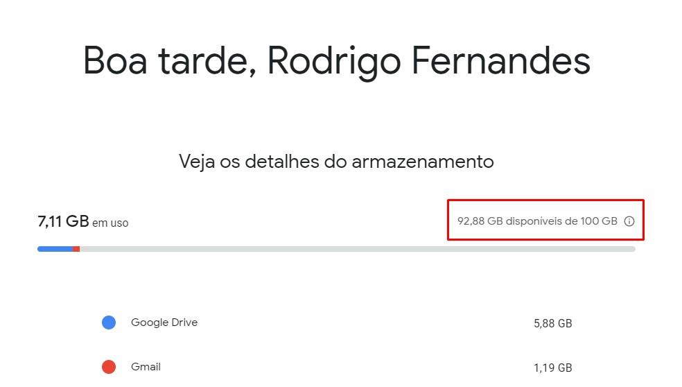 Google One avaldas mälumahu suurenemise kuni 24 tunni võrra. Foto: Reproduo / Rodrigo Fernandes