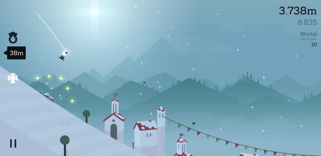 Altose seiklus lumepommis, jälitades. Skoor 3,738 meetrit