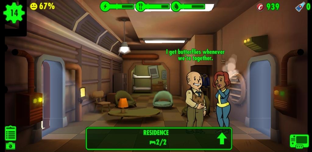 Kodumooduli jaoks kuvatakse Fallout Shelter, kus on kaks võrgutavat sõitjat