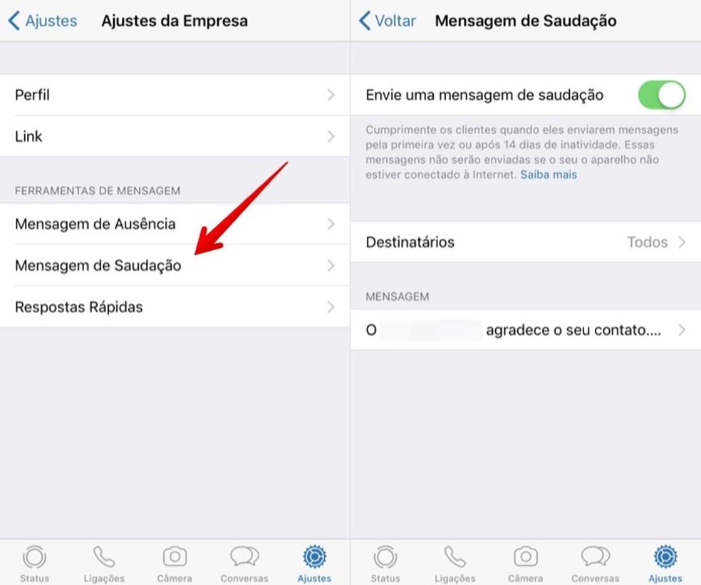 Automaatsete tervitussõnumite kohandamine rakenduses WhatsApp Business Photo: Reproduction / Helito Beggiora
