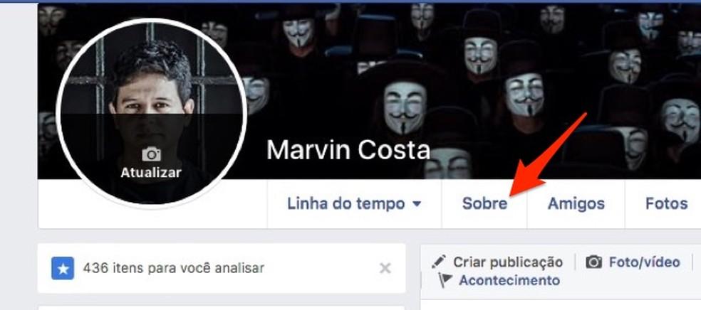 Kui vaatate Facebooki kontolt isiklikku teavet suhte oleku muutmiseks. Foto: Reproduo / Marvin Costa