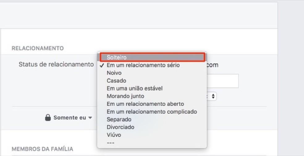 Suhte staatuse värskendamise võimalus Facebooki profiilifotol: Reproduo / Marvin Costa
