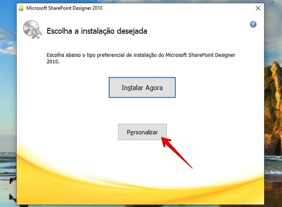 Foto tarkvara tarkvara installimise kohandamine: Reproduo / Helito Beggiora