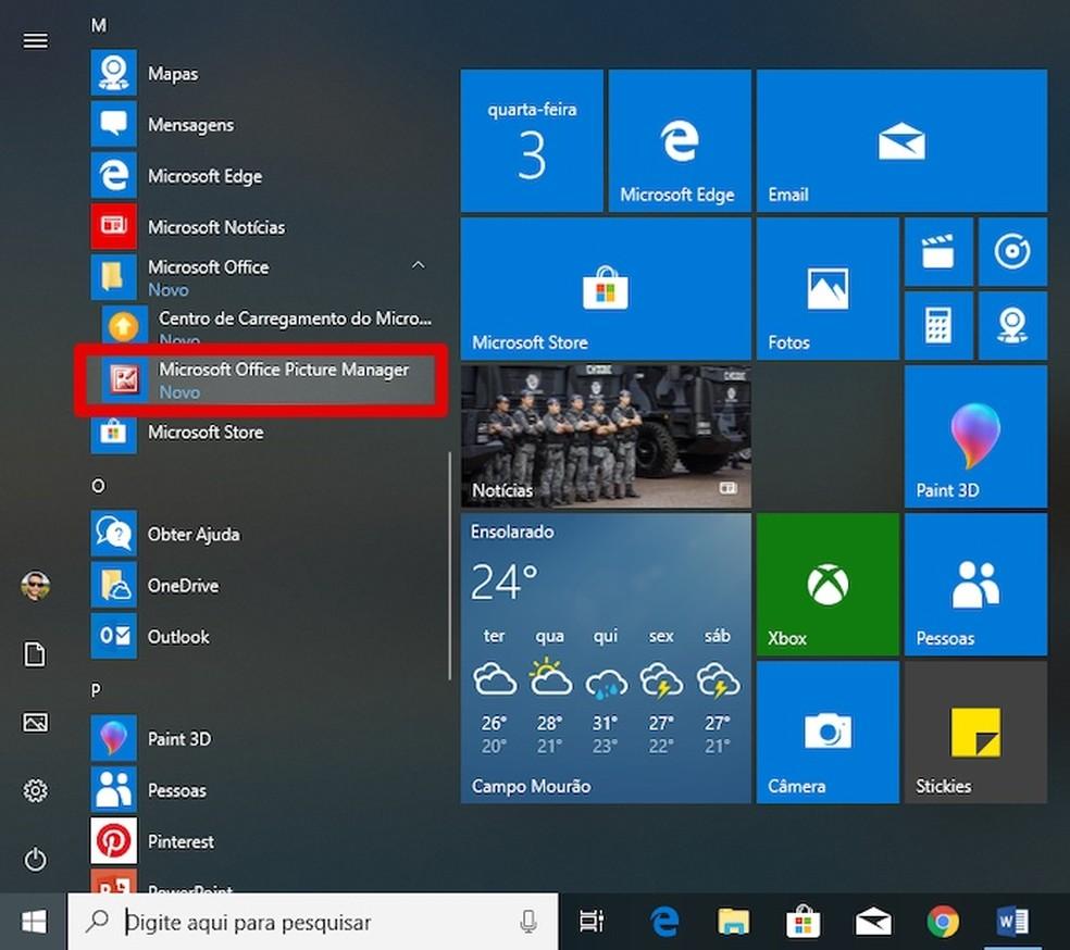 Microsoft Office Pilthalduri fotode käitamine: Reproduo / Helito Beggiora
