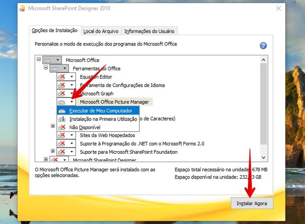 Aktiveerige Microsoft Office Pilthalduri installimine Foto: Reproduo / Helito Beggiora