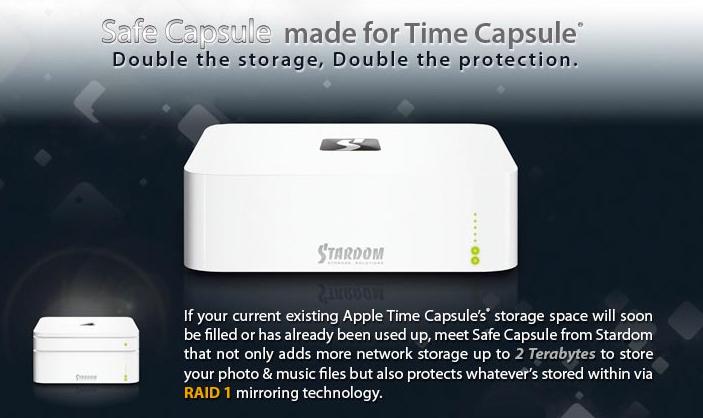 Ohutu kapsel kahekordistab Time Capsule'i mahutavust ja suurendab selle turvalisust