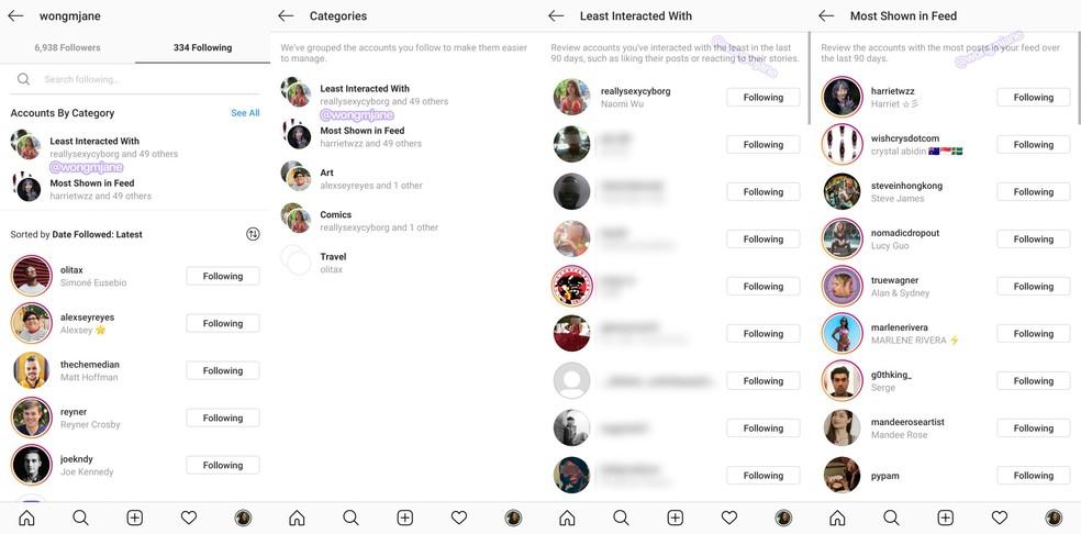 Testimisfaasis rühmitab uus Instagrami funktsioon automaatselt profiilid, millele järgneb Foto: Reproduo / Jane Manchun Wong
