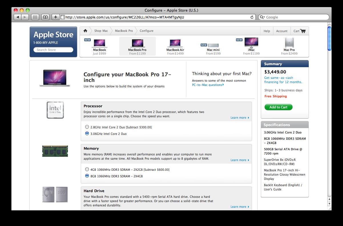 Apple'i veebipoes suurenenud RAM ja CPU hinnad langesid märkimisväärselt