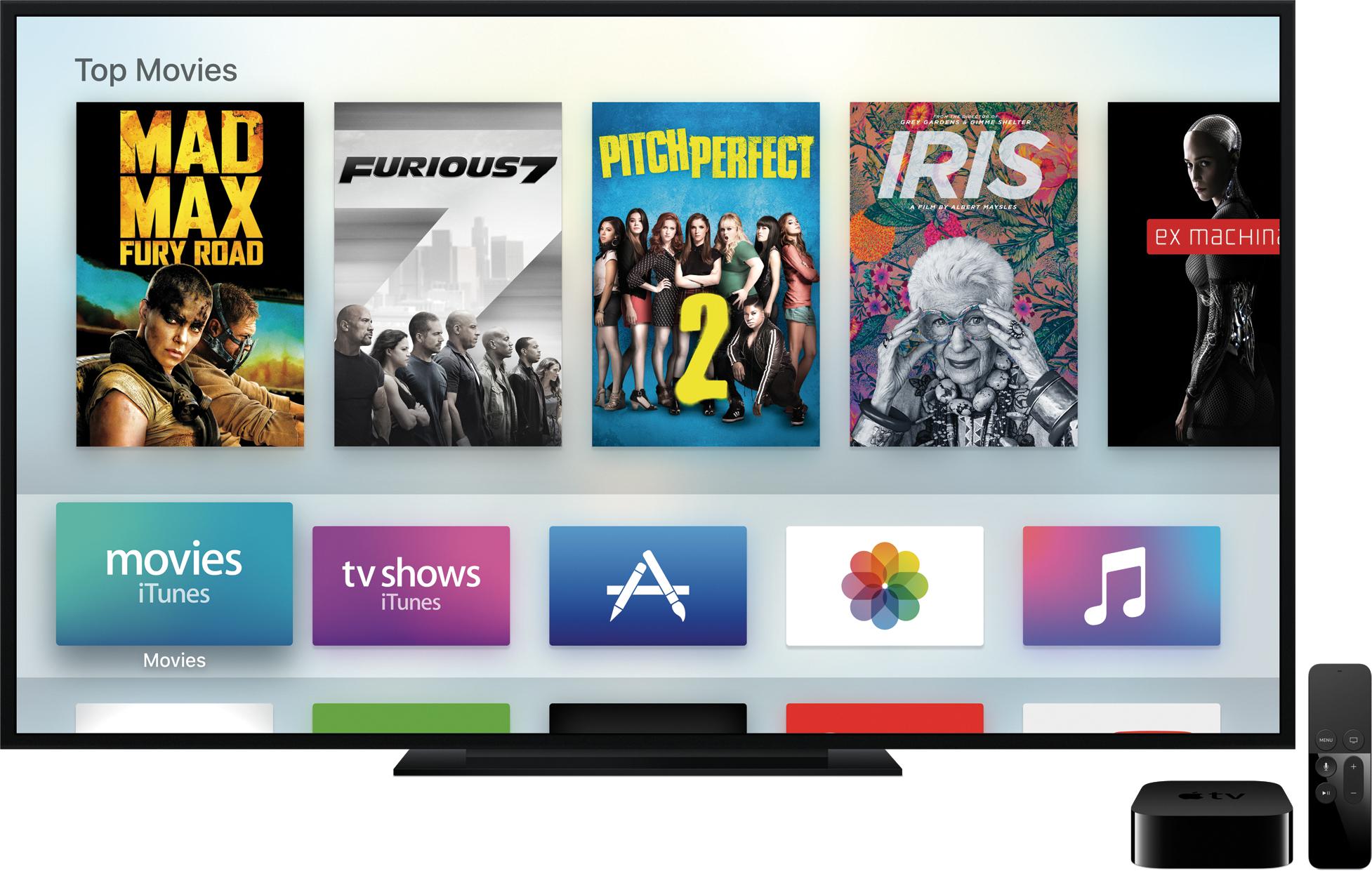 Apple TV baru di sebelah remote dengan layar home tvOS