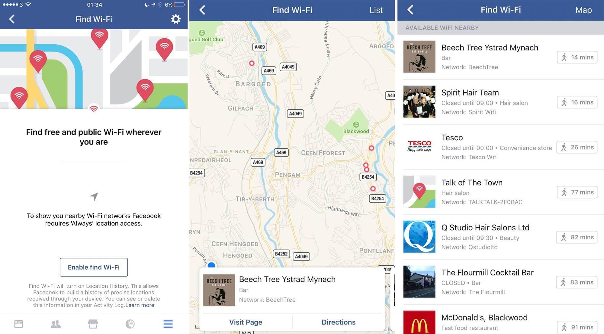 Facebook vabastab ülemaailmselt funktsiooni, mis näitab ettevõtteid, kus on teie lähedal tasuta WiFi-võrgud