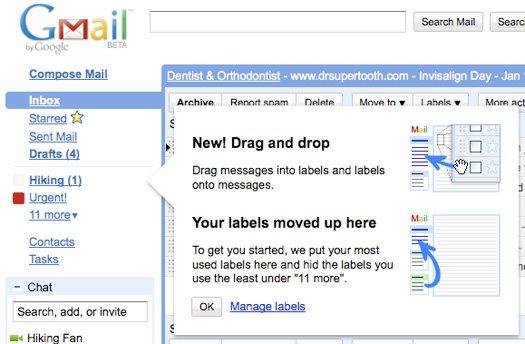 Gmail võtab kasutusele lohistamise ja muud uudised