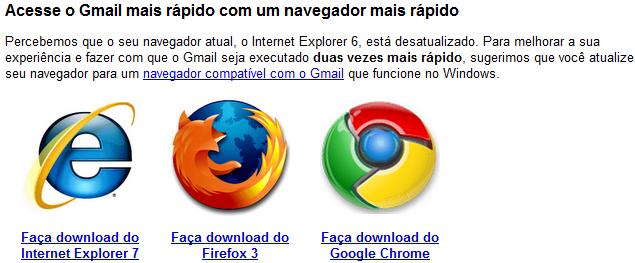 Google hoiatab IE 6 kasutajaid Gmaili kiiremaks muutmiseks ja uuendamiseks