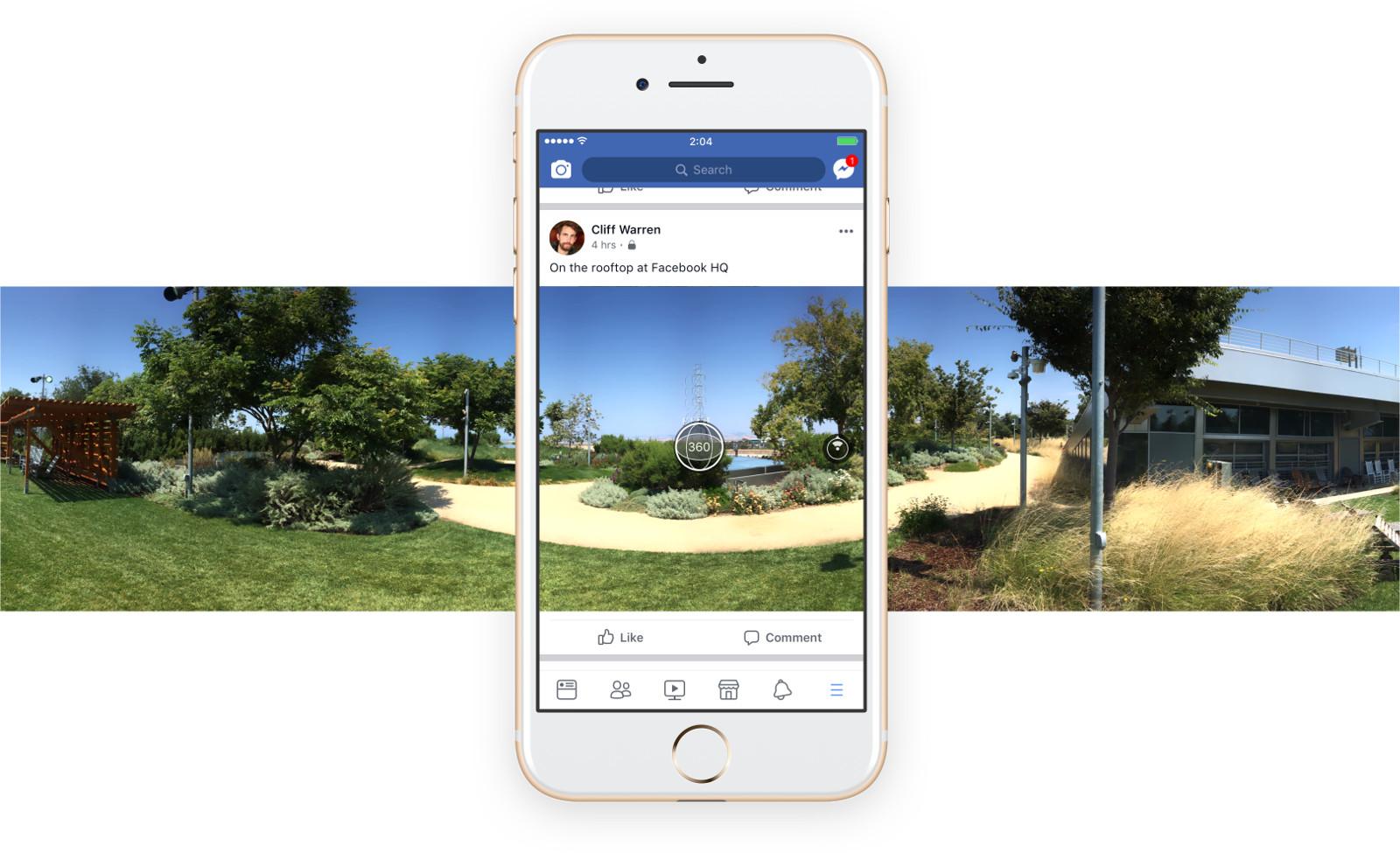 IOS-i Facebooki värskendus võimaldab rakenduses sfäärilisi fotosid teha