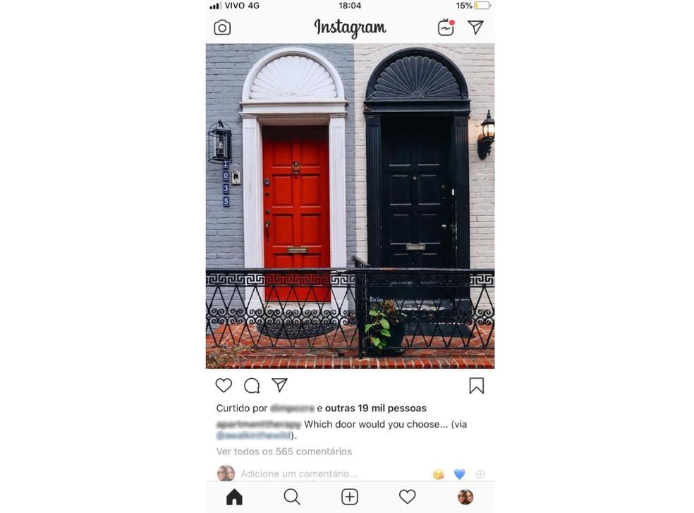 Instagram näitab jälle mõne kasutaja jaoks meeldimiste arvu. Foto: Reproduo / TechTudo