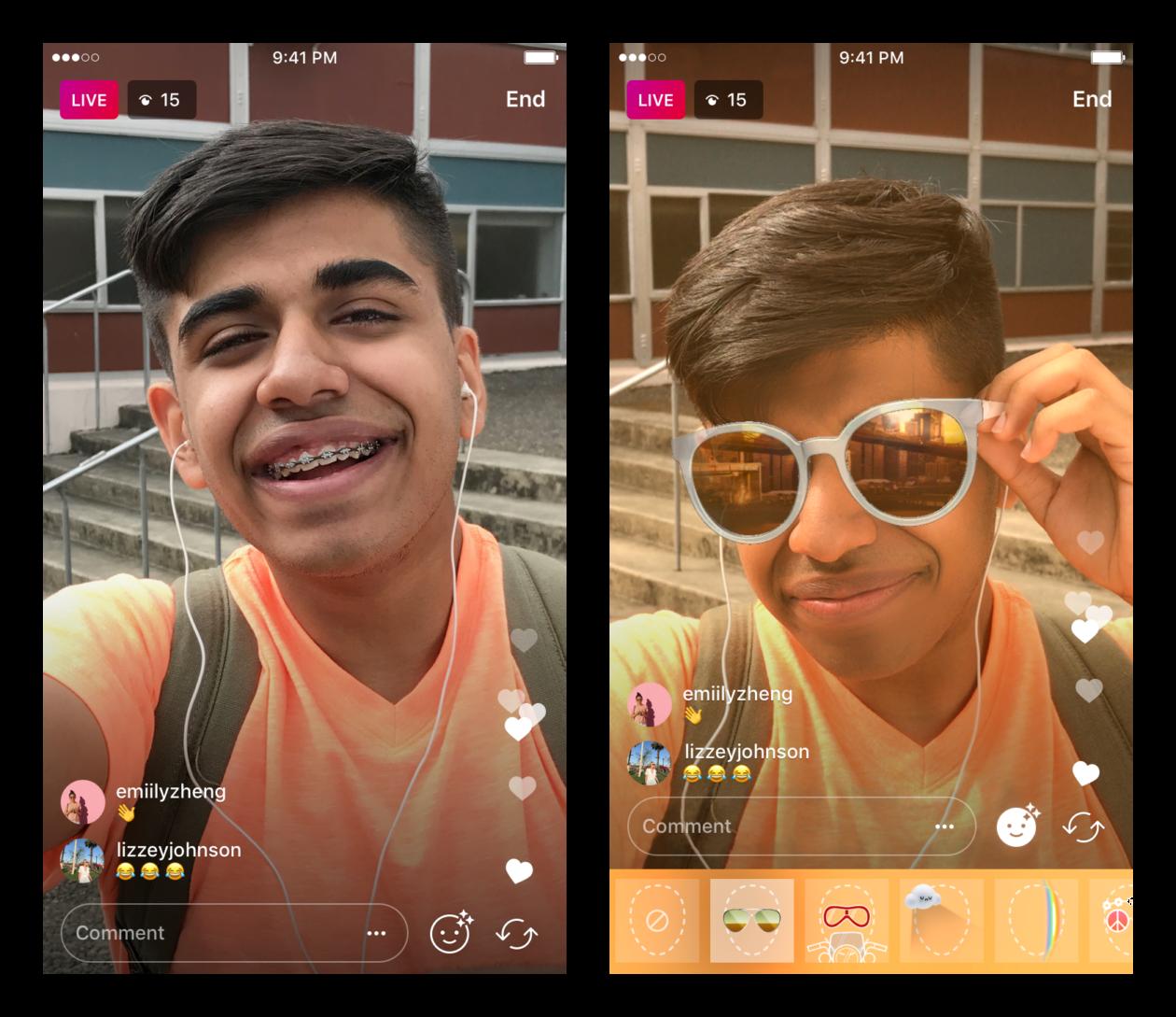 Instagram võimaldab nüüd näofiltri rakendusi ka otseülekandena voogesitada