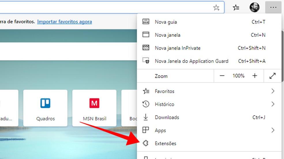 Juurdepääs Microsofti servade fotolaiendite menüüle: Reproduo / Paulo Alves
