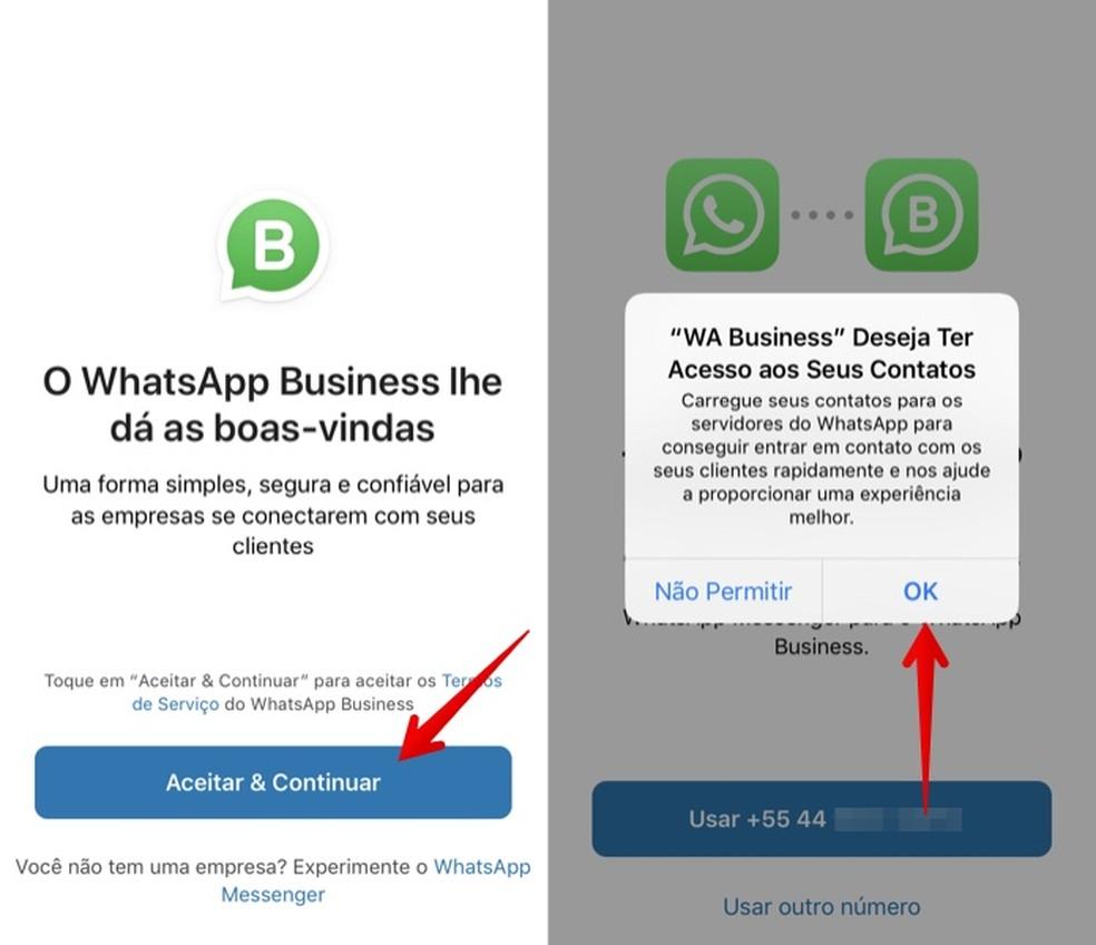 WhatsApp Businessi algkonfiguratsiooni loomine iPhone'is Foto: Reproduction / Helito Beggiora