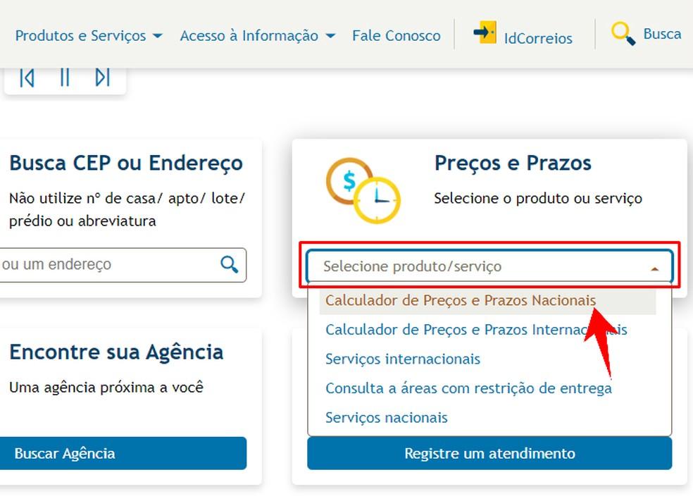 Valige Correiose veebisaidilt riiklik saatmiskalkulaator. Foto: Reproduo / Rodrigo Fernandes