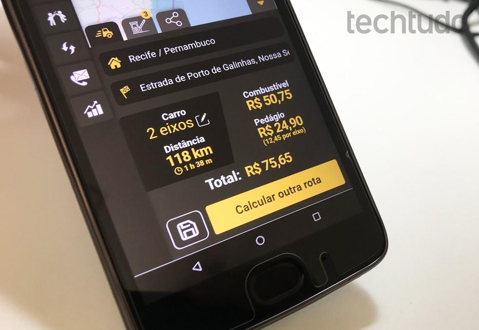 QualP võimaldab teil arvutada reisi jaoks vajalikud teemaksud ja kütus.Foto: Rodrigo Fernandes / TechTudo