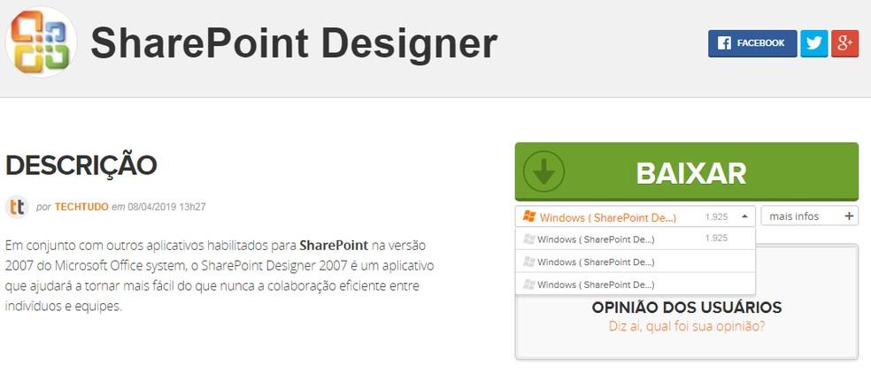 Valige SharePoint Designer Photo edition: Reproduo / TechTudo