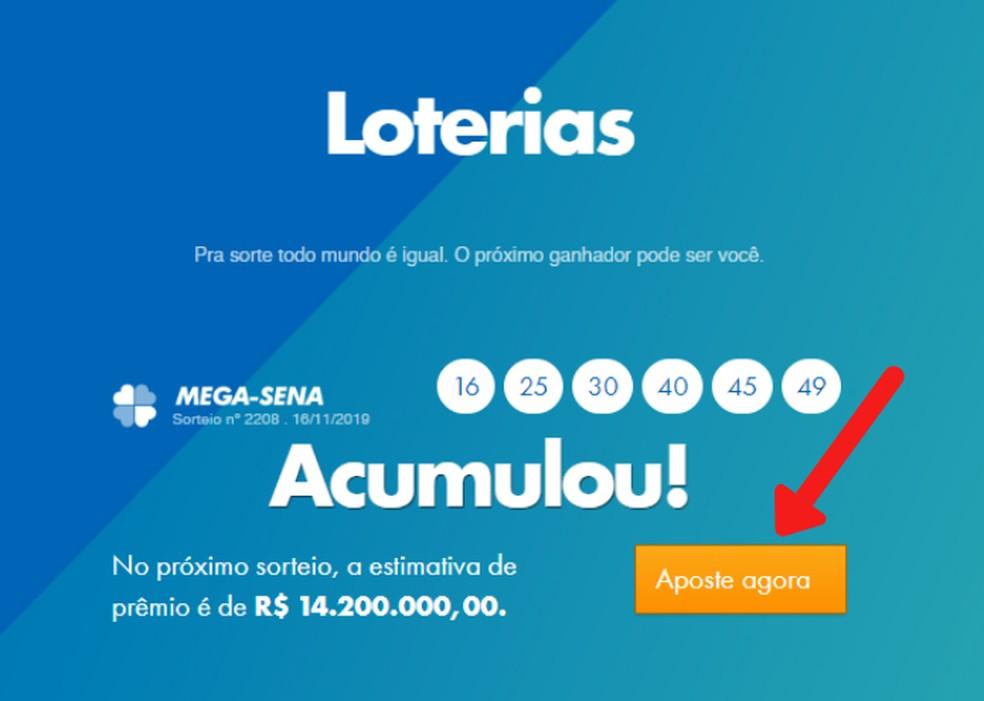 Juurdepääs Caixa loterii kodulehele Foto: Reproduo / Lvia Dmaso