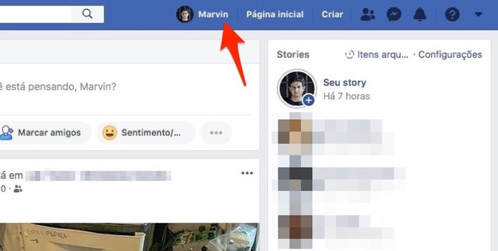 Facebooki profiililehele sisenemisel Foto: Reproduo / Marvin Costa suhestaatuse muutmiseks