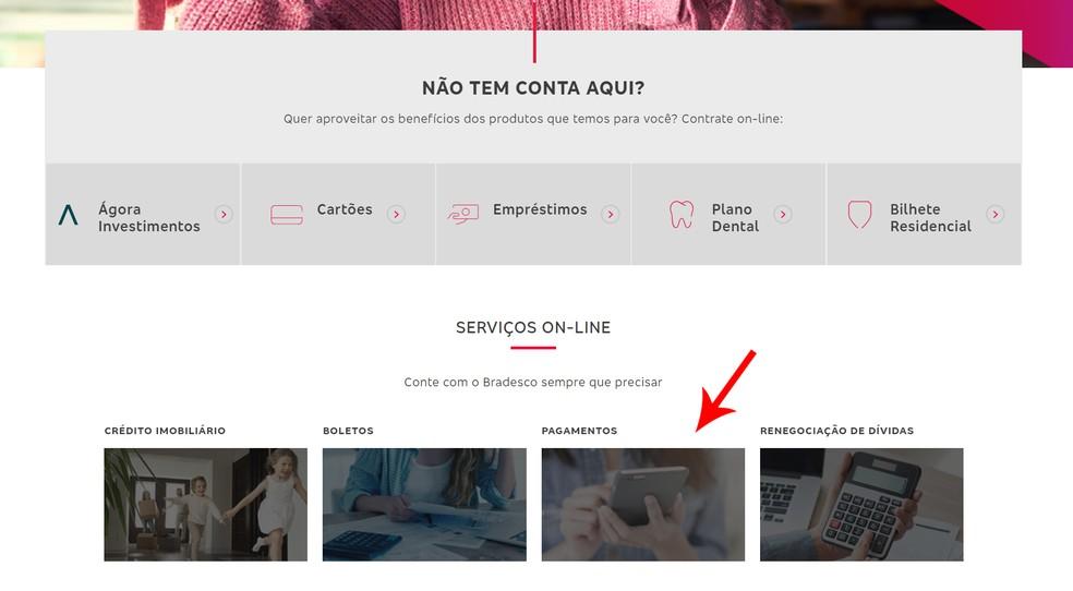 "Valige Banco Bradesco veebisaidil jaotis ""Maksed"". Foto: Reproduo / Ana Letcia Loubak"
