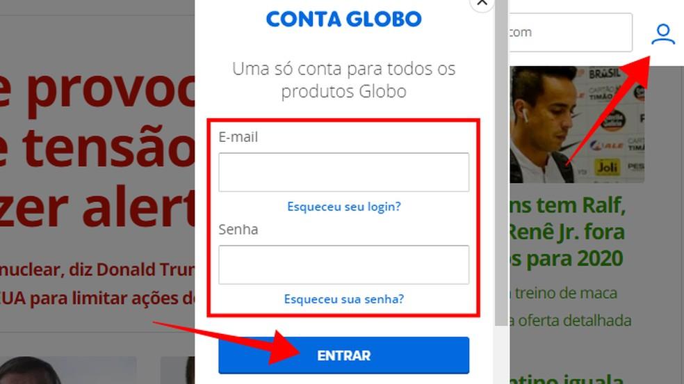 Logi Telecine Play Foto tellimisega seotud Globo kontole sisse: Reproduo / Paulo Alves
