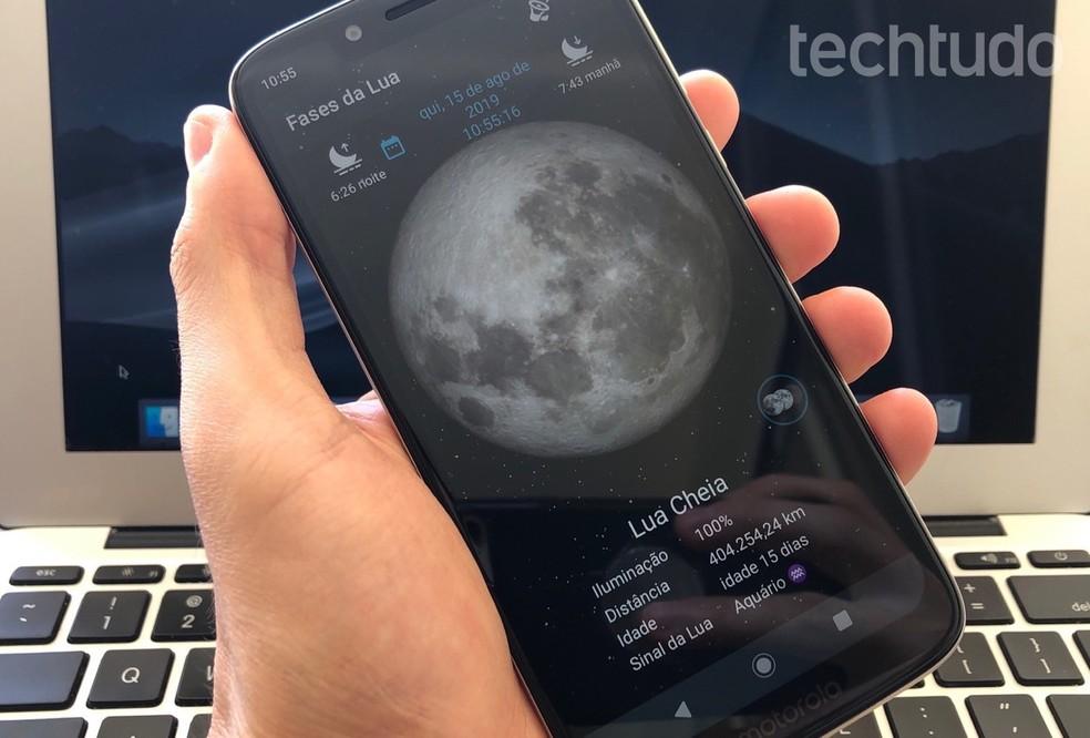 Siit saate teada, kuidas kasutada kuufaasi rakendust mobiilikuu kalendri kuvamiseks. Foto: Reproduo / Helito Beggiora