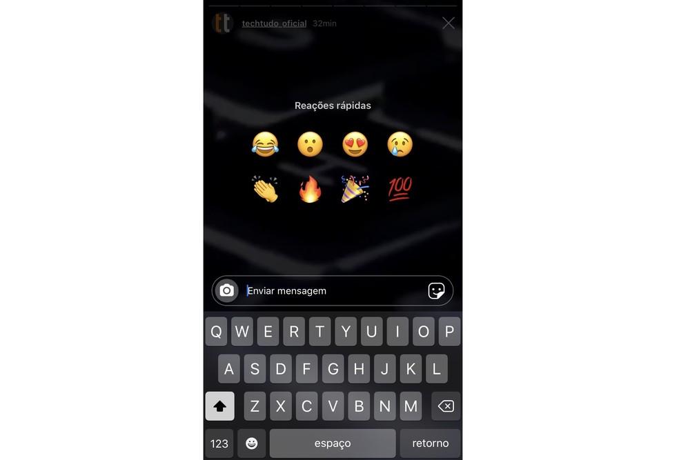 Instagram s võimaldab teil reageerida lugudele emotikonidega oma mobiiltelefonis. Foto: Reproduo / Rodrigo Fernandes