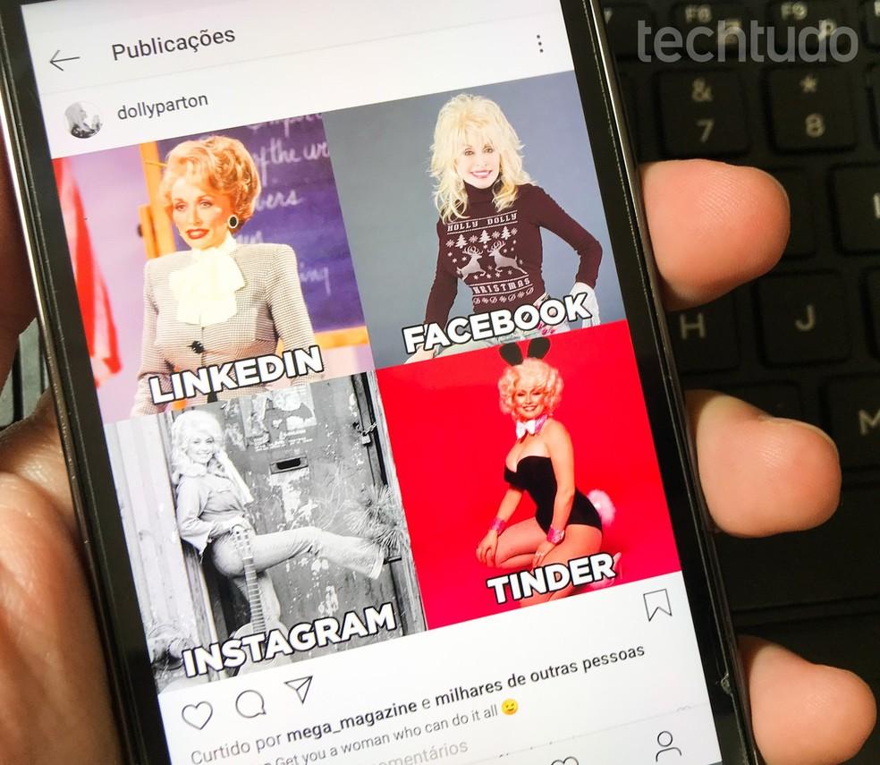 LinkedIni, Facebooki, Instagrami ja Tinderi fotosid ühendavad meemid ilmuvad laulja Dolly Partoni postitustega Foto: Rodrigo Fernandes / TechTudo