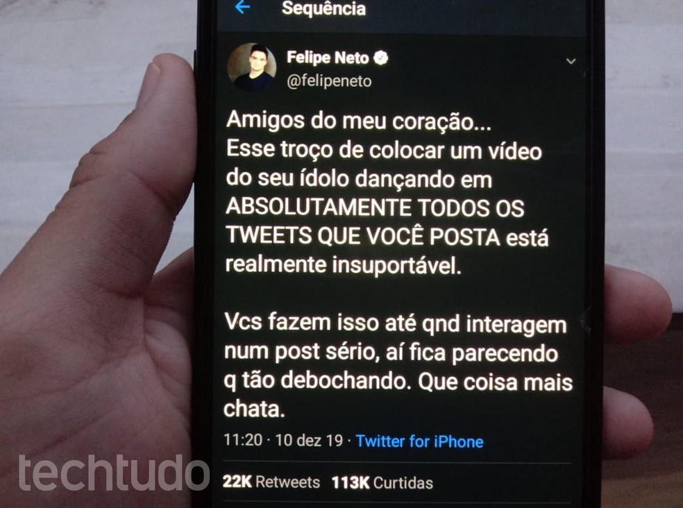 Felipe Neto valitses taas arutelu fännikaamerate kasutamise üle Foto: Gabrielle Ferreira / TechTudo
