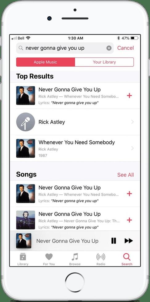 IOS 12-s saate otsida laule posti teel Apple Musicust