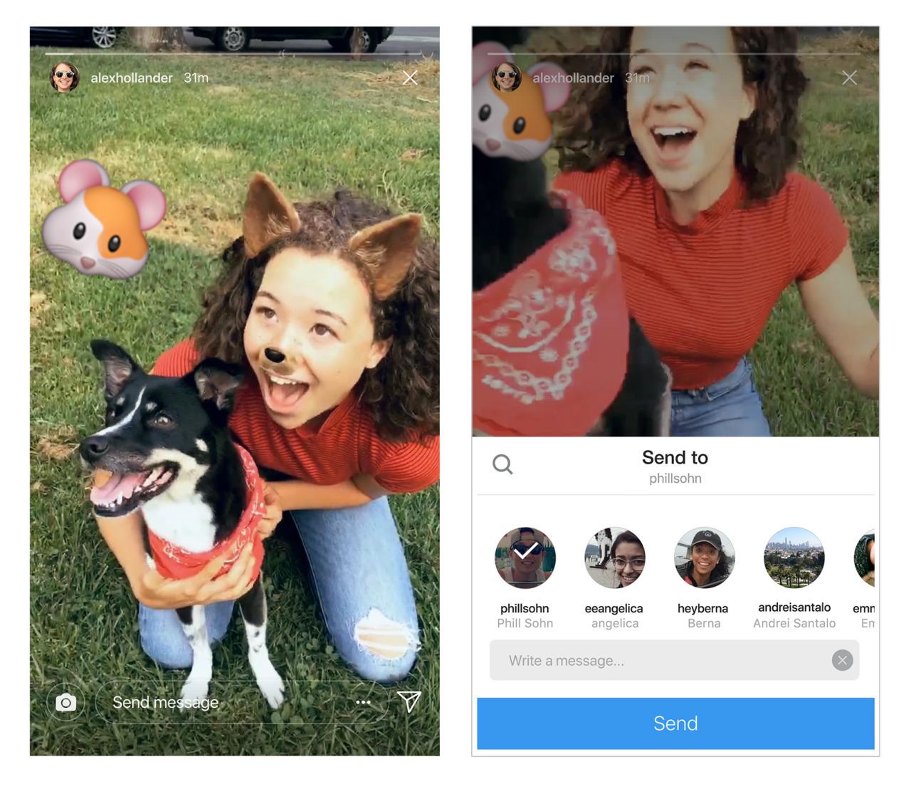 Berbagi Cerita Instagram melalui Direct
