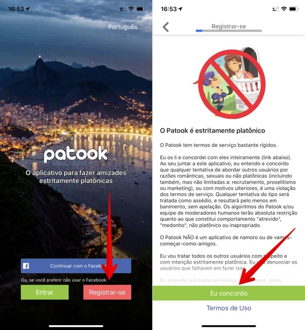 Veebisõprade pakkumise rakenduse Patook algseaded Foto: Reproduo / Helito Beggiora