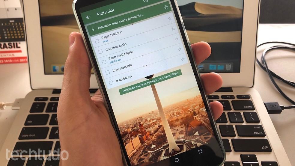 Siit saate teada, kuidas kasutada rakendust Wunderlist oma mobiiltelefonil ülesannete korraldamiseks Foto: Helito Beggiora / TechTudo