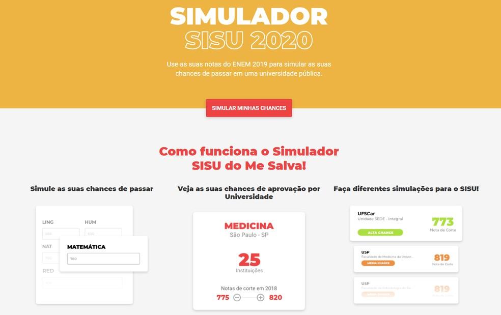 SISU 2020 simulaator: salvestage veebisait! näita oma kinnitusvõimalusi Foto: Reproduo / Me Salva!