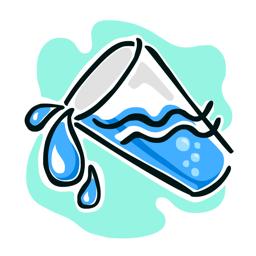 Pritsmevee jälgimise rakenduse ikoon - joo rohkem vett, jälgi iga päev veetarbimist, vedelikku - saada meeldetuletusi
