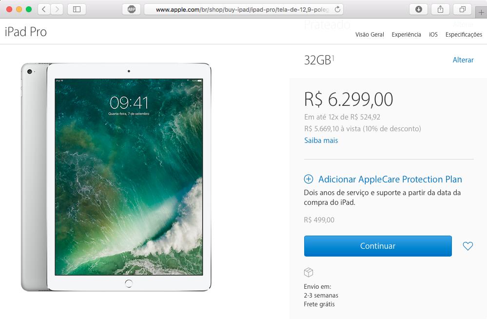 Halaman penjualan iPad Pro 12,9 inci menuduh stok rendah
