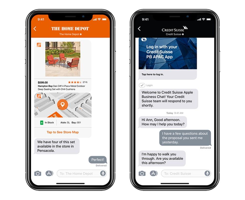 Apple Business Chati vestlusel on ettevõtte foto visuaalne identiteet: Divulgao / Apple