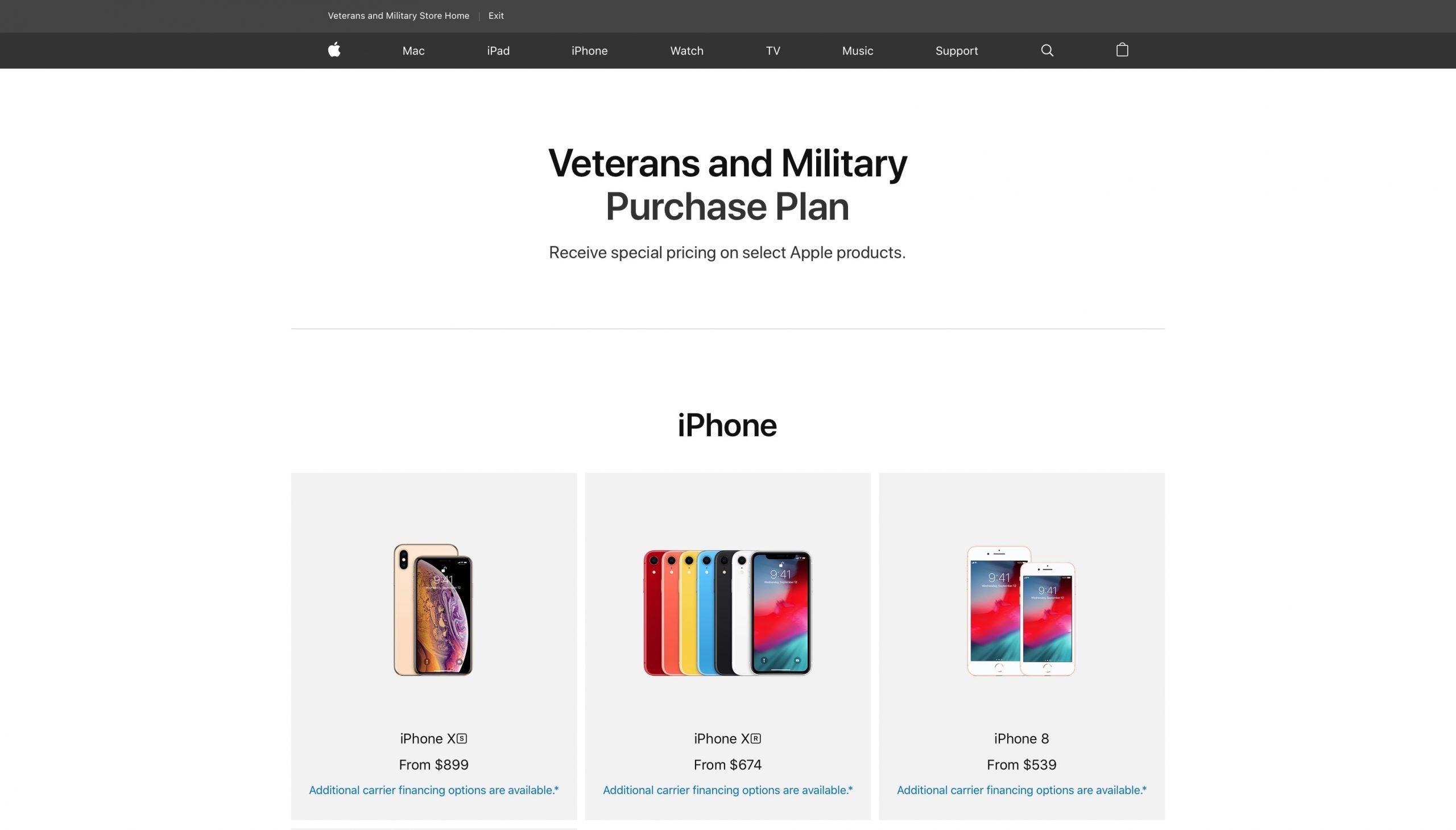 Apple'i spetsiaalne veebipood pakub USA sõjaväelastele ja veteranidele 10% allahindlust