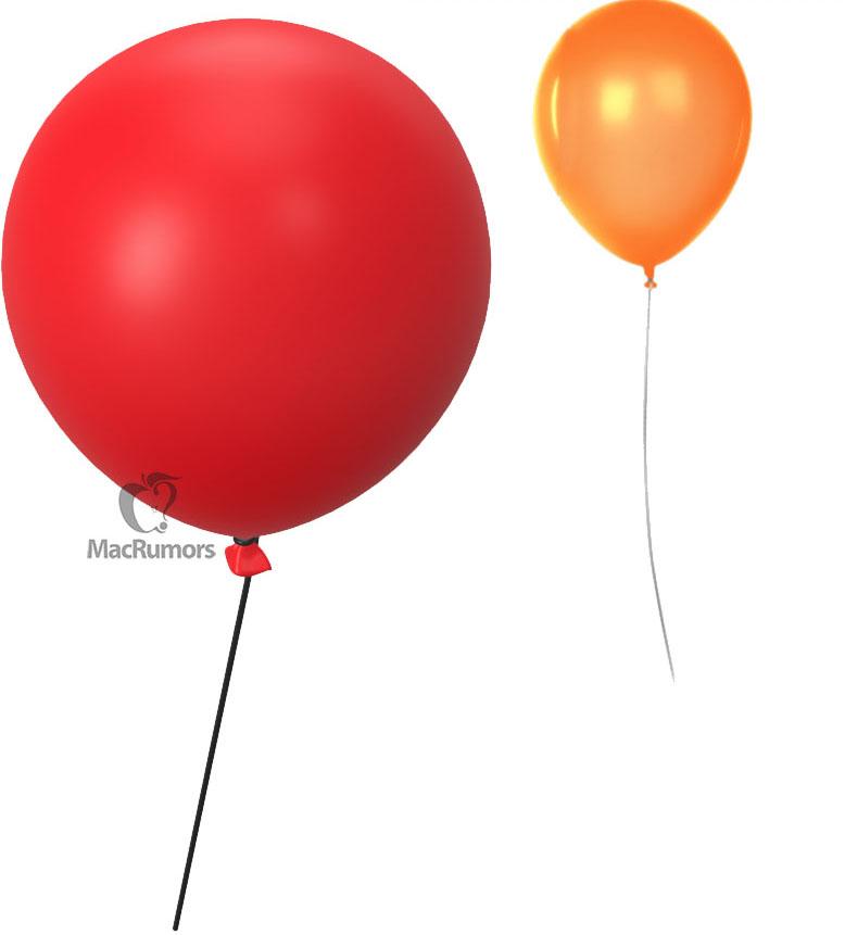 Punased õhupallid, mida kasutatakse rakenduses Otsing objektide leidmiseks