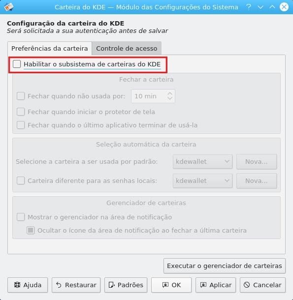 KDE-rahakoti seadistamine